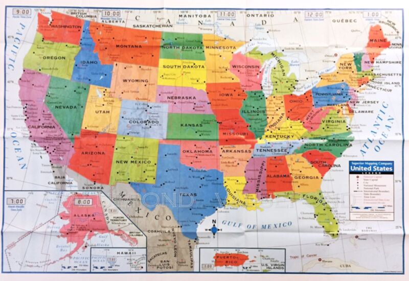 """USA US MAP Poster Size Wall Decoration Large MAP of United States 40""""x28"""" D02"""