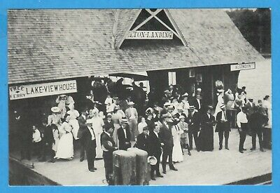 """Lake George, NY, Bolton's Landing, """"Free Ferry"""" Sign, Dock People Repro Postcard"""