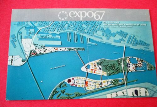 Artists Conception of Master Plan Map Expo 67 Montreal Canada - Unused Postcard