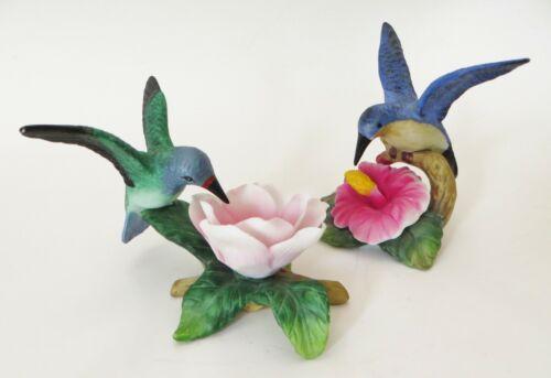 2 Porcelain Hummingbird Figurines