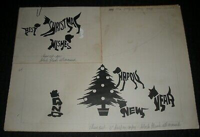 CHRISTMAS Best Wishes New Year Dogs Tree Letters 12x9