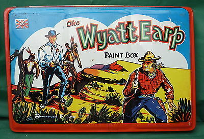 VINTAGE LARGE WYATT EARP COWBOY PAINT TIN 50'S DISPLAY COLLECT