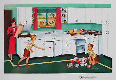 VINTAGE 1957 YOUNGSTOWN KITCHEN MULLINS PROMOTIONAL PLACEMAT LITHO REMIE HAMON 5