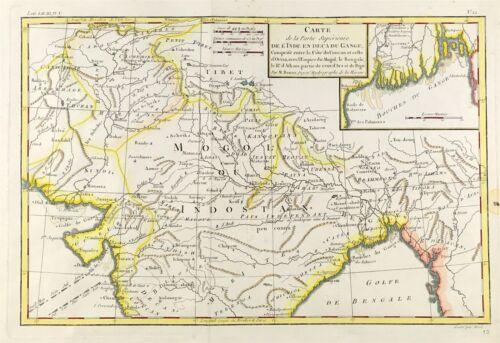 Map of Northern India, Kandahar, Kashmir c1780 by Bonne Original engraved Rare