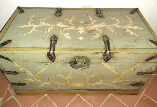 Blanket Chest  Coffee Table French Country Sage Green with Iron Hardware