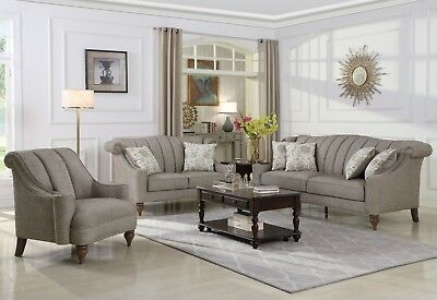 Modern Traditional Chair (Modern Traditional Living Room 4-Piece Sofa Loveseat 2-Chair Set Brown Chenille )