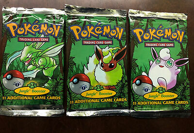 Pokemon Jungle Set 1st Ed Booster Pack Set of 3 Wrappers No Cards Only Artwork