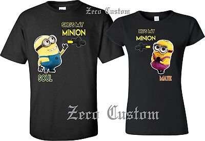 MINIONS SOUL MATE T-SHIRT MATCHING CUTE LOVE T-SHIRTS COUPLES BEST PRICE NEW NEW