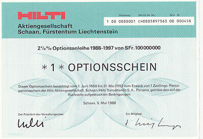 Hilti AG - Optionsschein 1986-91 - Schaan (Liechtenstein) 1988