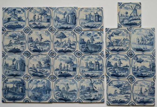 23 Original Delft delftware tiles carreaux with landscapes, c. 1760 - 1780...