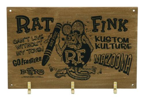 "Rat Fink Ed Roth Wooden Wall Mount Key Hook Kustom Kulture 8"" X 13"" RAF545RF"
