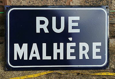 French vitreous enamel steel street sign road plaque vintage Rue Malhere Malhère