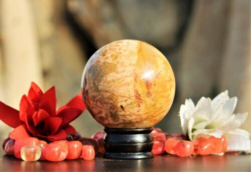 Rare 10CM Natural Morgan Hill Poppy Jasper Healing Power Meditation Sphere Ball