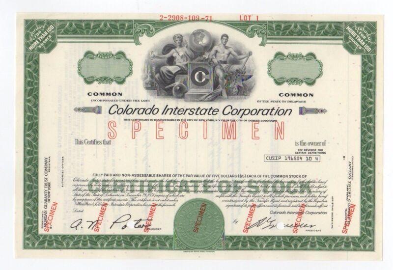 SPECIMEN - Colorado Interstate Corporation Stock Certificate