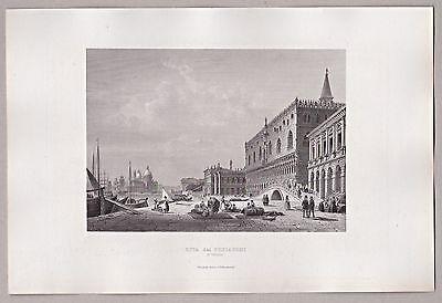Italien, Italy - Venedig - Ansicht der Riva dai Schavoni - Stich,Stahlstich 1862