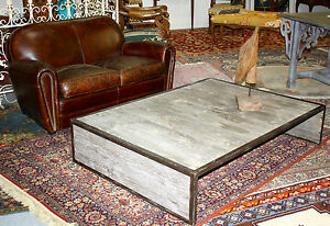 Table basse rectangulaire en fer et bois brut ebay La petite table basse en bois brut