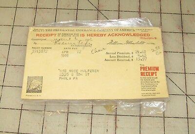 1932 Prudential Insurance Company Of America Bill Invoice Receipt Rose Halperan