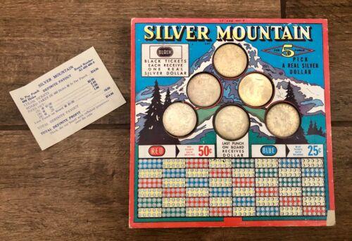 RARE Vintage Silver Mountain Punch Board Stimulator w/ 5 Silver Dollars