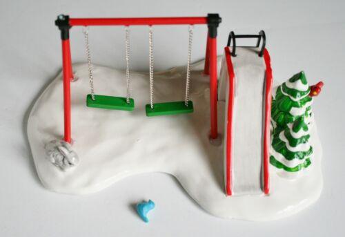 "Dept 56 Original Snow Village ""Winter Playground"" Swing Set Slide Bunny - READ"