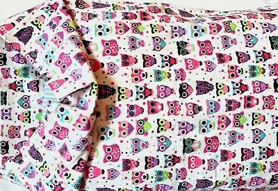 Pink Owl Flannel Pillowcase Fits Standard Size Pillow French Seams Handmade New ()