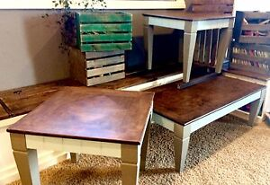 Refinished coffee table with 2 side tables