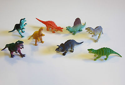 "8 NEW ASSORTED TOY DINOSAURS 5"" DINOSAUR FIGURES DINO ANIMAL KIDS PLAYSET"