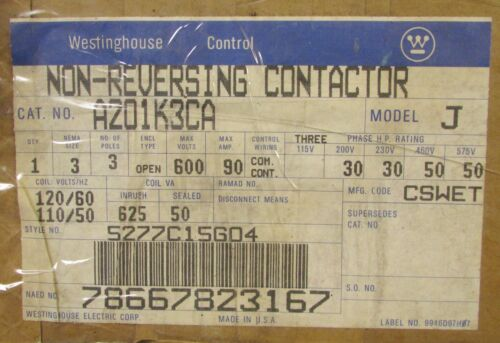 WESTINGHOUSE CUTLER HAMMER A201K3CA 110/120V Size 3 A200 Contactor 5277C15G04