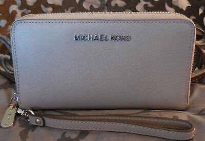 MICHAEL KORS ~Leather Large Flat MF PHONE CASE Wristlet Wallet ~GREY~NWT $148