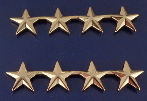 "4 stars 1/2"" Polished Gold Pair Collar Pins Rank Insignia Police Chief"