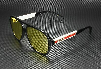GUCCI GG0463S 001 Aviator Black Green White Yellow 58 mm Men's Sunglasses