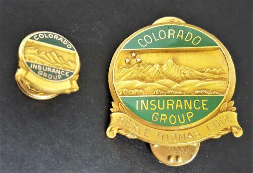 Vintage Colorado Insurance Group MERLE THOMAS EGGE Lot Of 2 Pin Awards