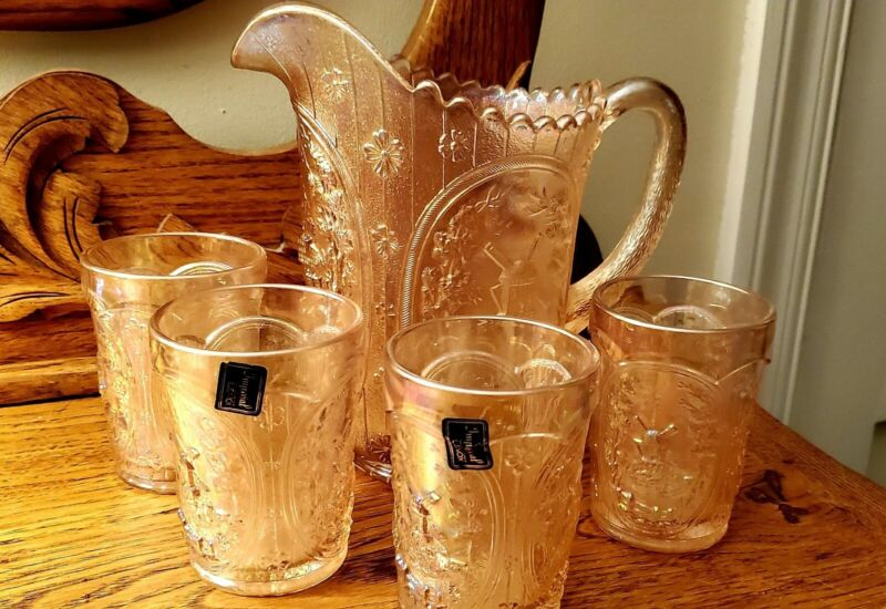 VTG IMPERIAL LENOX 5 PIECE PITCHER AND TUMBLER SET-PINK IRIDESCENT WINDMILL