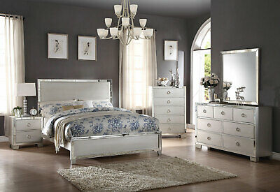 NEW Transitional Style Platinum Bedroom Furniture - 5 pieces King Bed Set IABY