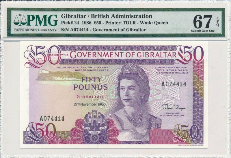 Government of Gibraltar  50 Pounds 1986 Prefix A S/No xx44x4 PMG  67EPQ