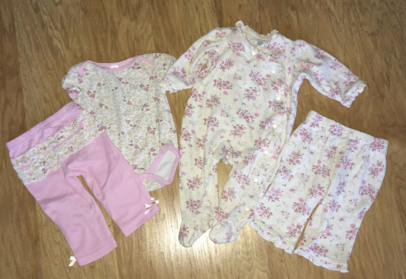 Lot Of 4 Baby Girl Clothes Size 3-6 & 6 Months Pink Floral Pants, One Piece Top+