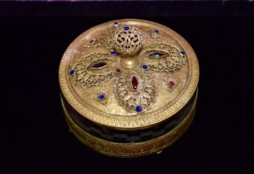 STUNNING Antique Brass*JEWELED*Ormolu *CASKET* Trinket *JEWELRY* Vanity Box JAR