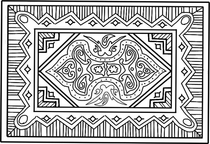 "Rug Hooking Pattern "" ORIENTAL""  on natural linen"