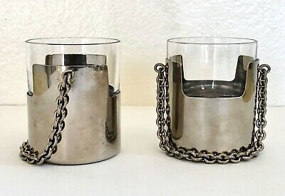RARE Vintage GUCCI Drink BUCKETS Cocktail Glass Holders Barware CHAIN Whiskey
