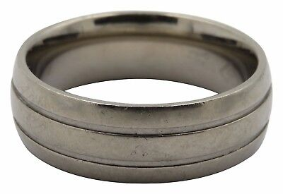 Double Grooved Satin Finish (Men's Double Grooved Titanium Ret $249 8mm Satin Finish Wedding Ring Size)