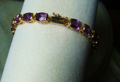 Vintage 14k Gold Heavy Amethyst 12 Ct Tennis Bracelet