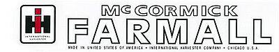 International Harvester Ihc Mccormick Farmall Tractor Decal 2 X 18.