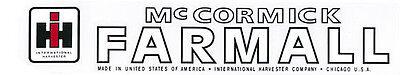 International Harvester Ihc Mccormick Farmall Tractor Decal 2 X 18.