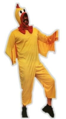 Yellow Rubber Chicken Adult Costume Squeeze Toy Farm Animal Halloween LG