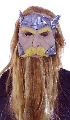 Viking Beard Costume (Mens Adult Viking Beardski Blond Wig Beard Mask Halloween Costume Acces. M L)