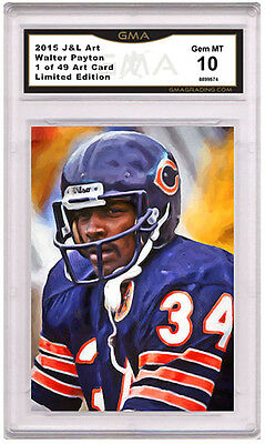 Walter Payton HOF 1 of 49 Art Card Gem MT 10 Artist Autograph Chicago Bears