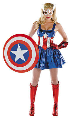 Captain America Deluxe Female Adult Costume Marvel Comics Size 12-14 Disguise  ()