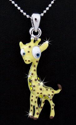 So Cute New Giraffe Austrian Crystal Pendant Charm Silver Tone Necklace Yellow
