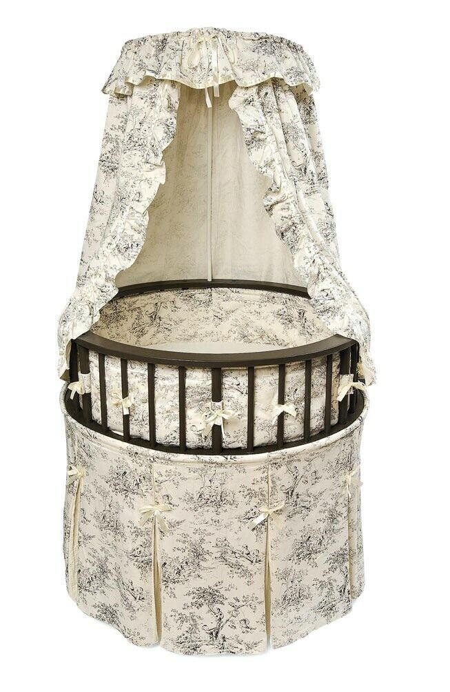 Black Wood Elegance Round Baby Infant Newborn Bassinet Toile