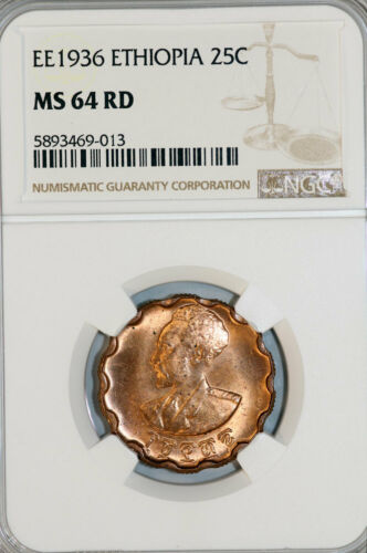 Ethiopia. Haile Selassie. CU 25 Cents EE1936. NGC MS64RD