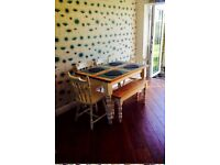 Dining room table chairs and bench set